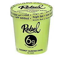 Rebel Ice Cream Coconut Almond Swirl 1 Pint - 473 Ml