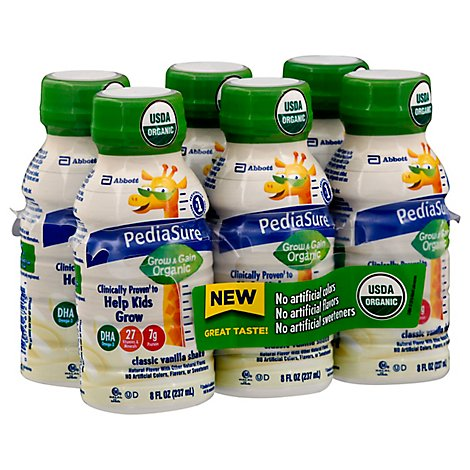 PediaSure Grow & Gain Organic Shake Ready To Drink Classic Vanilla - 6-8 Fl. Oz.