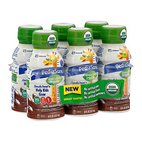 PediaSure Grow & Gain Organic Shake Ready To Drink Milk Chocolate - 6-8 Fl. Oz.