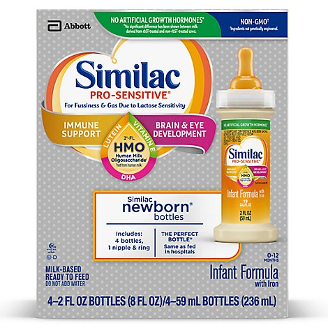 Similac Pro-Sensitive Infant Formula Non GMO with 2 FL HMO With Iron Ready To Drink - 4-2 Fl. Oz.