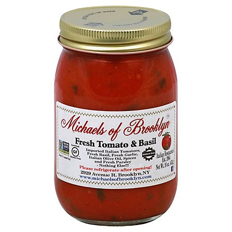 Michaels Of Brooklyn Sauce Fresh Tomato & Basil - 16 Oz