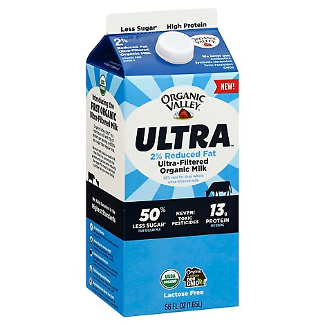Organic Valley Ultra Milk Organic Reduced Fat 2% Milkfat - 56 Fl. Oz.