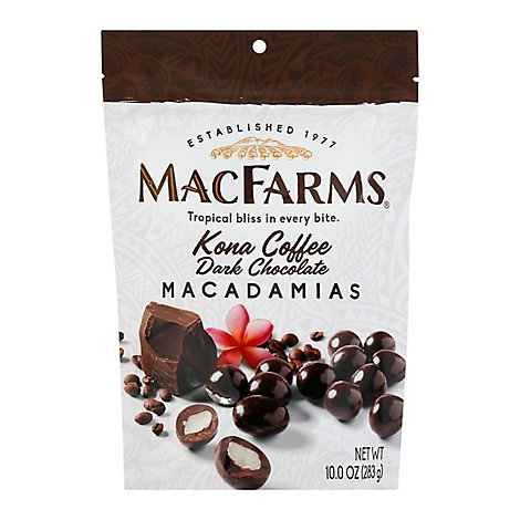 MacFarms Macadamias Kona Coffee Dark Chocolate - 10 Oz