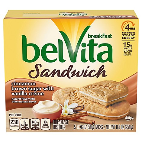 belVita Breakfast Biscuits Sandwich Cinnamon Brown Sugar With Vanilla Crme 5 Count - 8.8 Oz