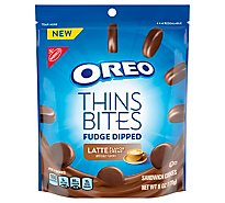 OREO Sandwich Cookies Thins Bites Fudge Dipped Latte Flavored Creme - 6 Oz