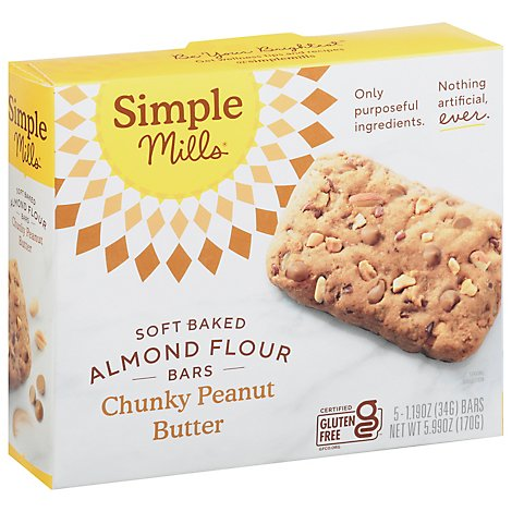 Simple Mills Almond Flour Bars Soft Baked Chunky Peanut Butter - 5-1.19 Oz
