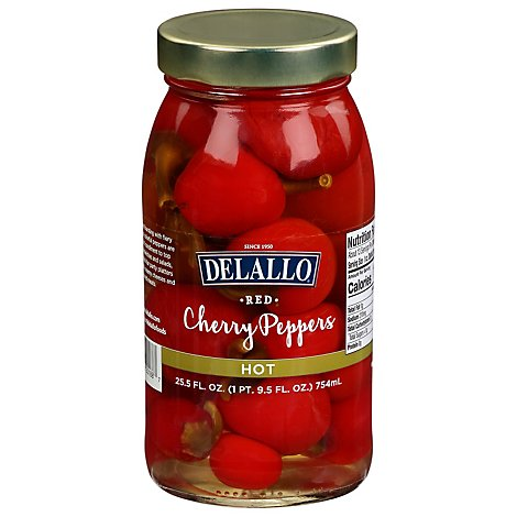 DeLallo Super Select Cherry Peppers Red Hot - 25.5 Oz