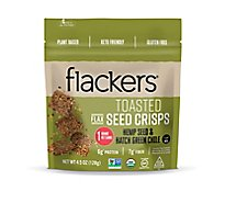 Doctor In The Kitchen Toasted Flackers Seed Crisps Hemp Seed & Hatch Green Chile - 4.5 Oz