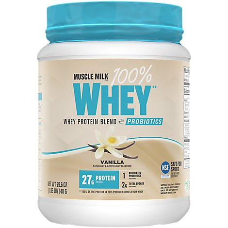 Muscle Milk Whey Protein Powder Blend With Probiotics Vanilla - 29.6 Oz