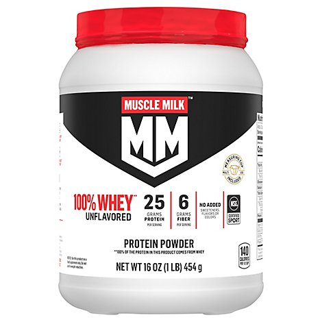 Muscle Milk Whey Protein Powder Blend Unflavored - 16 Oz