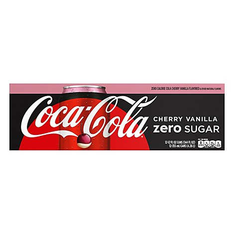 Coca-Cola Soda Pop Cherry Vanilla Zero Sugar - 12-12 Fl. Oz.
