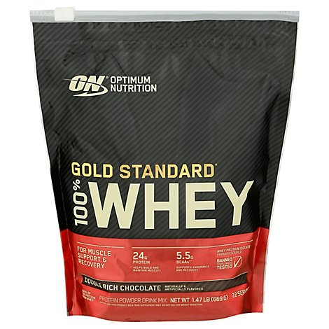 On Gold Standard 100% Whey Protein Poweder Double Chocolate - 1.47 Lb