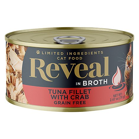 Reveal Cat Food Grain Free Tuna Fillet With Crab Wet In A Natural Broth - 2.47 Oz