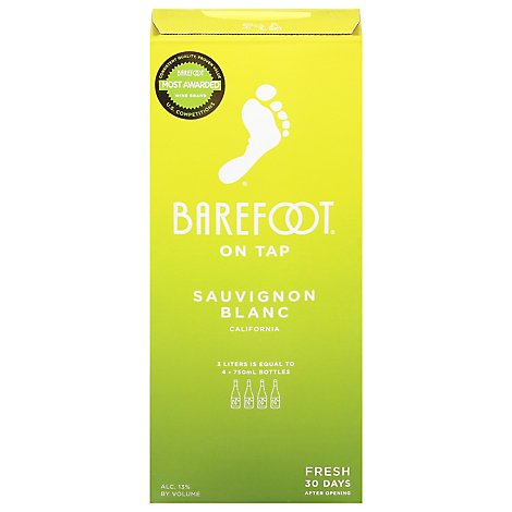 Barefoot On Tap White Wine Sauvignon Blanc Box - 3 Liter