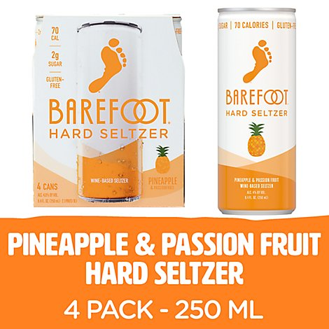 Barefoot Seltzer Hard Wine Based Pineapple & Passion Fruit Gluten Free Pack - 4-8.4 Fl. Oz.