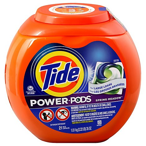 Tide Power Pods Laundry Detergent Pacs Hygienic Clean Spring Meadow - 21 Count