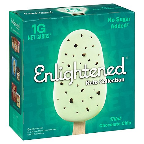 Enlightened Keto Collection Ice Cream Bars Mint Chocolate Chip - 4-3.75 Fl. Oz