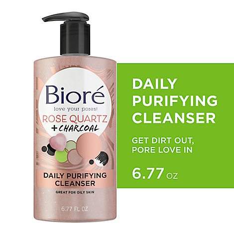 Biore Rose Quartz Charcoal Cleanser - 6.77 Fl. Oz.
