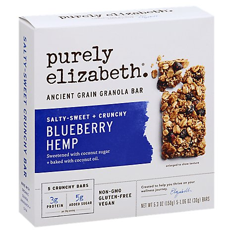 Purely Elzbth Granola Bar Bluberry Hemp - 7 Oz