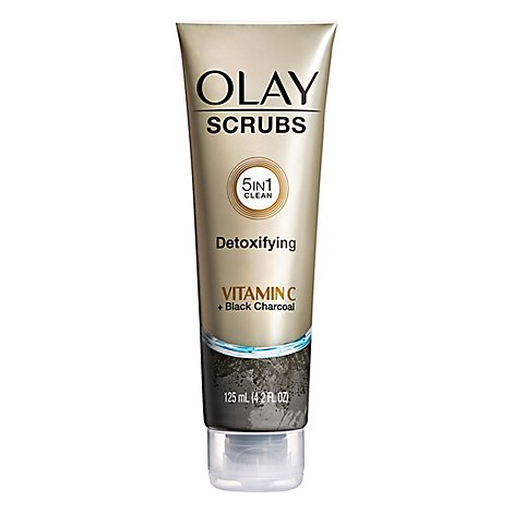 Olay Scrubs Detoxifying 5in1 Clean With Vitamin C + Black Charcoal - 4.2 Fl. Oz.