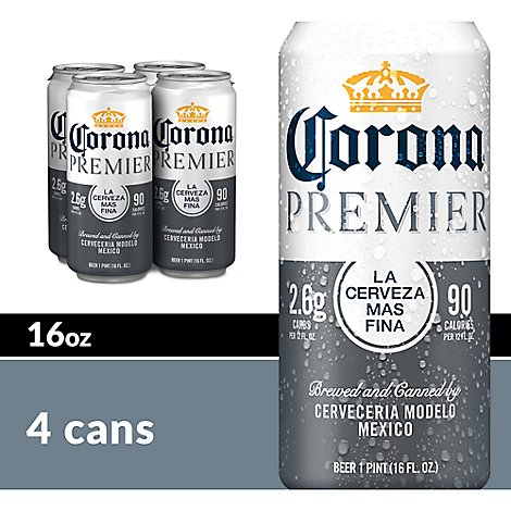 Corona Premier Beer Light Mexican Lager 4.0% ABV In Can - 4-16 Fl. Oz.