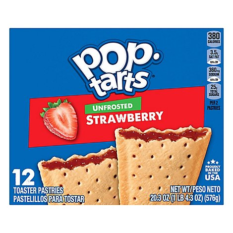 Pop Tarts Toaster Pastries Unfrosted Strawberry - 20.3 Oz