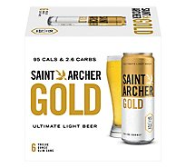 Saint Archer Gold Beer Lager Light 4.2% ABV Cans - 6-12 Fl. Oz.