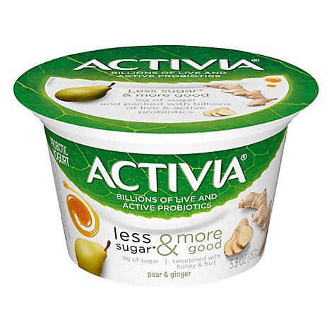 Activia Probiotic Yogurt Less Sugar & More Good Pear & Ginger - 5.3 Oz