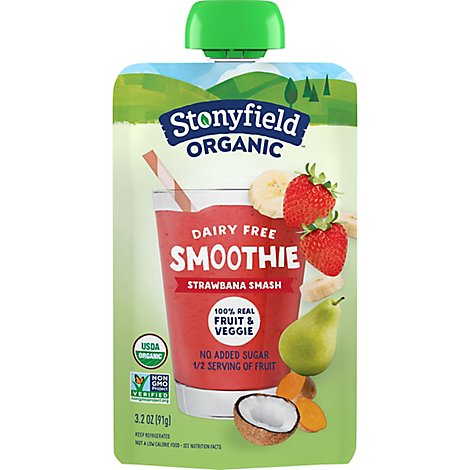 Stonyfield Organic Smoothie Dairy Free Strawberry Smash - 3.2 Oz