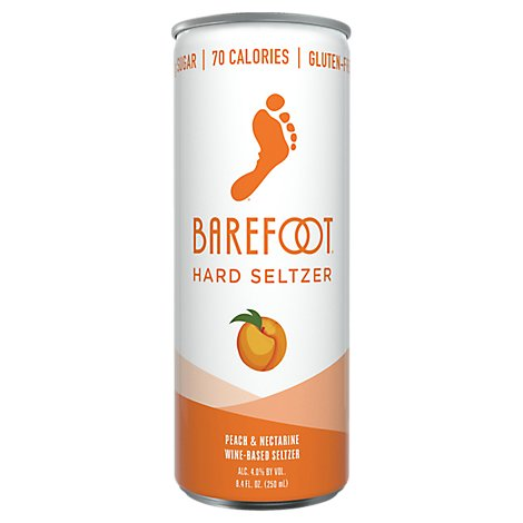 Barefoot Seltzer Hard Wine Based Peach & Nectarine Gluten Free Can - 8.4 Fl. Oz.