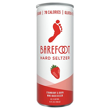 Barefoot Seltzer Hard Wine Based Strawberry & Guava Gluten Free Can - 8.4 Fl. Oz.
