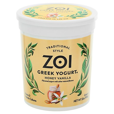 Zoi Honey Vanilla Greek Yogurt - 32 Oz
