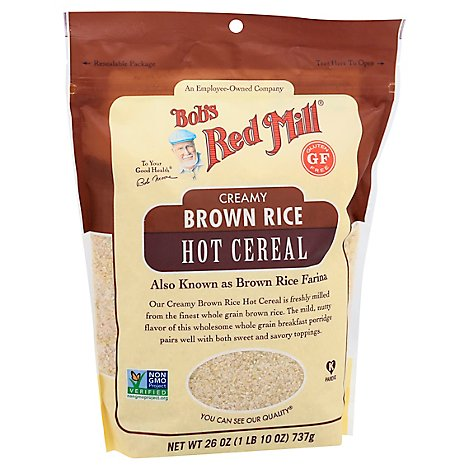 Bobs Red Mill Cereal Hot Creamy Brown Rice Farina - 26 Oz