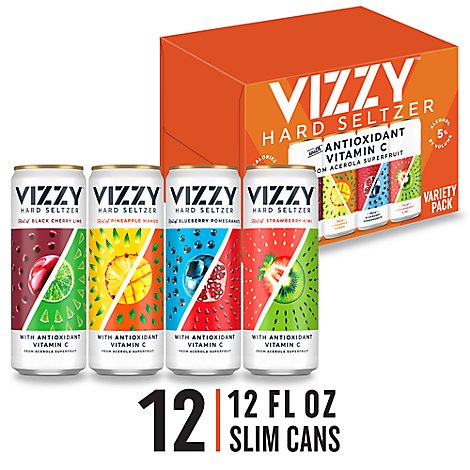 Vizzy Seltzer Hard Variety Pack 5% ABV Cans - 12-12 Fl. Oz.
