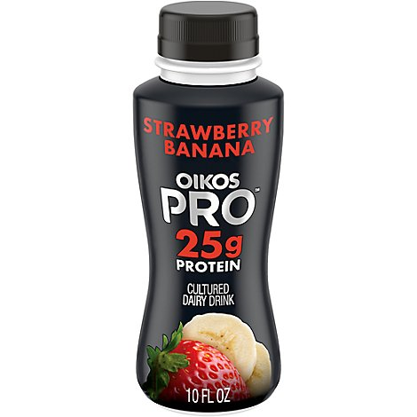 Oikos Pro Fuel Dairy Drink Caffeinated & Cultured Strawberry  Banana - 10 Fl. Oz.