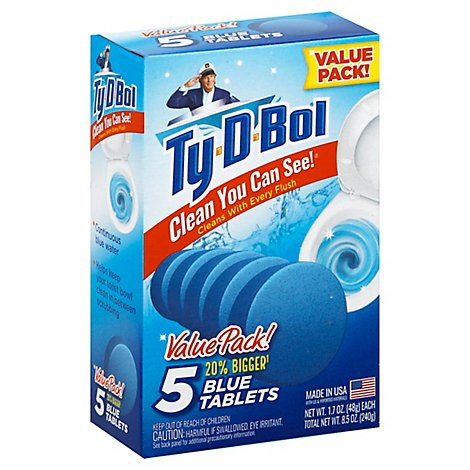 Ty D Bol Toilet Bowl Cleaner Blue Tablets 5 Count - 8.5 Oz