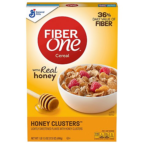 Fiber One Cereal Honey Clusters - 17.5 Oz