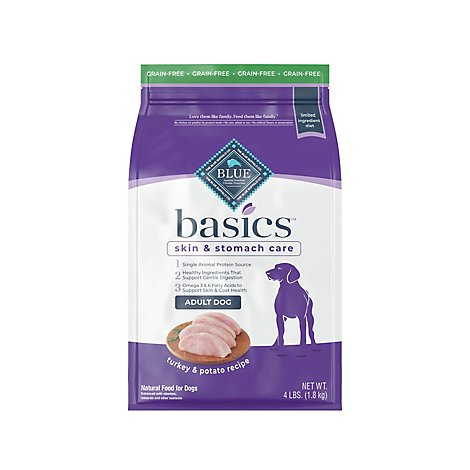 BLUE Basics Dog Food Adult Grain Free Turkey & Sweet Potato Recipe - 4 Lb