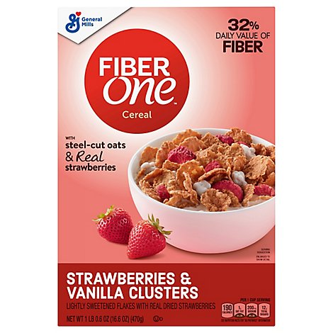 Fiber One Cereal Strawberries & Vanilla Clusters - 16.6 Oz