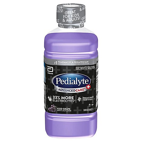 Pedialyte AdvancedCare Plus Electrolyte Solution Ready To Drink Iced Grape - 33.8 Fl. Oz.