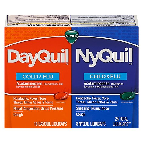 Vicks DayQuil NyQuil Medicine For Cold Flu And Congestion Liquicaps Convenience Pack - 24 Count