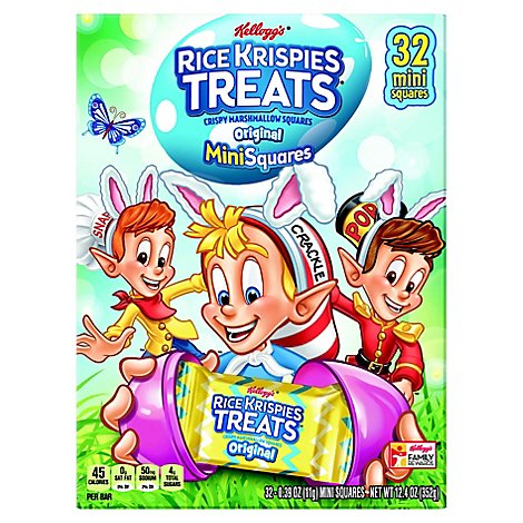 Kelloggs Rice Krispies Treats Crispy Marshmallow Squares Original Minisquares - 32-0.39 Oz