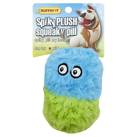 Ruffin It Spiky Plush Dog Toy Squeaky Pill - Each