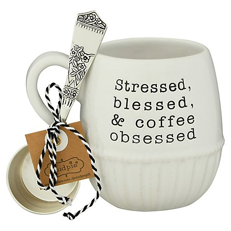 Mud Pie Stressed Coffee Mug Set - Each