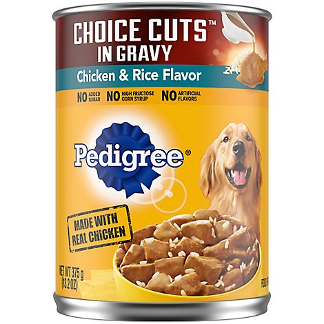 Pedigree Choice Cuts Dog Food In Gravy Wet For Adult Chicken & Rice - 13.2 Oz