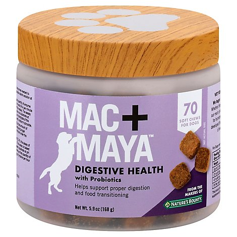 Mac+Maya Digestive Health Soft Chew For Dogs With Probiotics 70 Count - 5.9 Oz