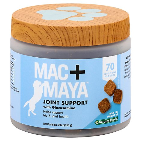 Mac+Maya Joint Support Soft Chew For Dogs With Glucosamine 70 Count - 5.9 Oz