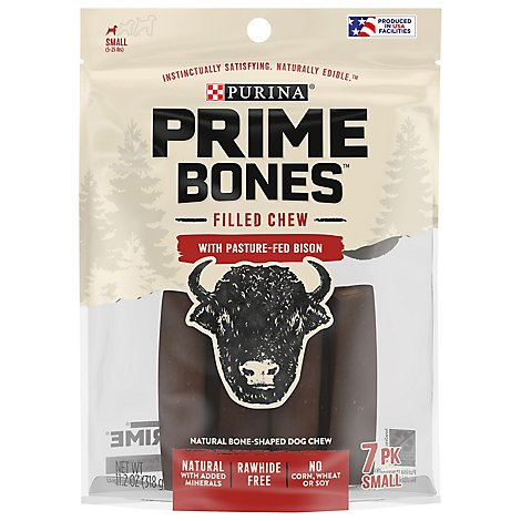 Prime Bones Dog Treats With Pasture Fed Bison Or With Bison - 11.2 Oz