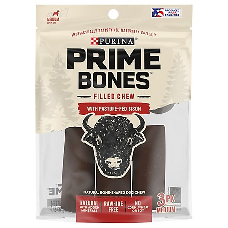 Prime Bones Dog Treats With Pasture Fed Bison Or With Bison - 11.3 Oz