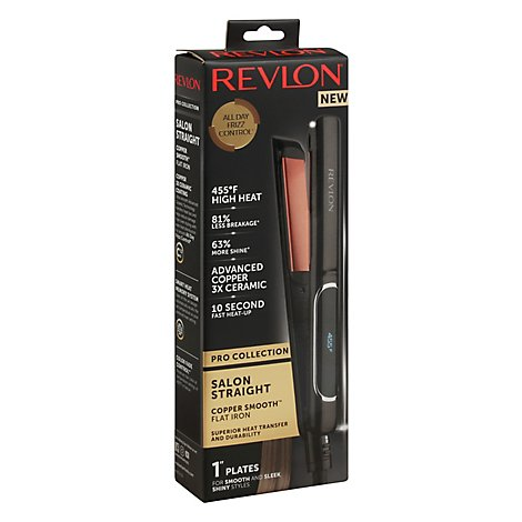 Revlon Pro Collection Flat Iron Salon Straight Copper Smooth 1 Inch Plate - Each